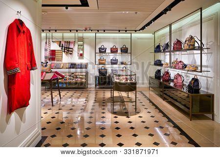 HONG KONG, CHINA - CIRCA JANUARY, 2019: interior shot of Burberry store in Elements shopping mall