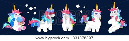 Funny Unicorn. Vector Cartoon Unicorn Collection. Cute White Magic Pony With Colorful Tails. Funny A