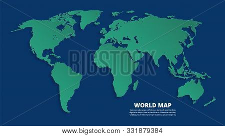 World 3d Map. Earth Green Map On Blue Background. Vector Template For Business Infographic, Eco Conc