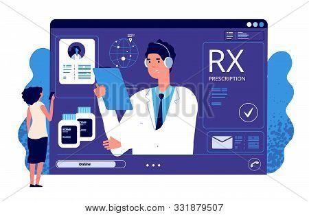 Rx Prescription Online. Medical App, Online Prescription. Vector Doctor, Patient, Painkiller Medicat