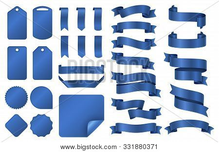 Blue Ribbons. Wrapping Silk Ribbon Banners And Price Tag Badges Vector Set. Illustration Silk Sticke