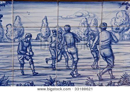 Tile, Talavera ceramics, playing football,