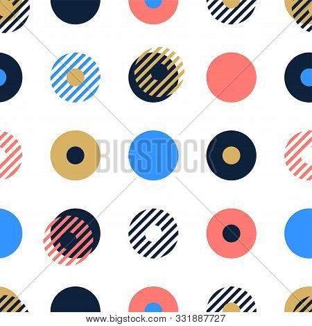 Abstract Background Seamless Vector Pattern Made With Circular Geometric Shapes Or Dots With Line. C