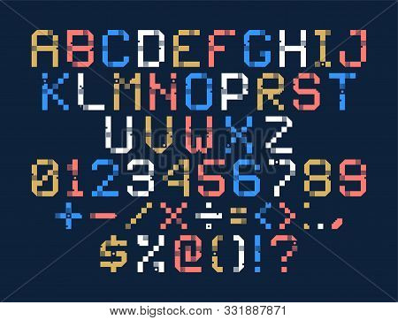 Vector Pixel Art Alphabet. Colorful Letters Consist Of Modules. Letters From Strips, Squares And Dot