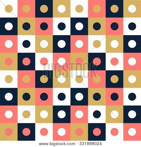 Vector Seamless Pattern Background, Design, Modern Square With Dot Or Circle Inside. Pixel Seamless