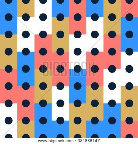 Vector Seamless Pattern Background, Design, Modern Rectangle With Dot Or Circle Inside. Pixel Seamle