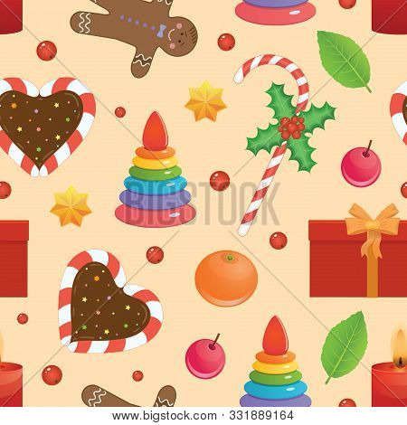 Holliday Bright Vector Seamless Pattern. Christmas Objects, Cakes, Candies And Presents