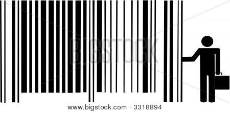 Stick Man Pushing Barcode