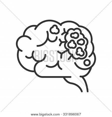 Brain Cancer Line Black Icon. Human Organ Concept. Malignant Neoplasm.