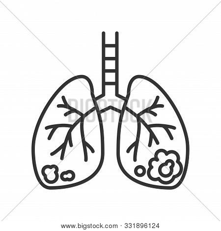 Lungs Cancer Line Black Icon. Human Organ Concept. Malignant Neoplasm. Sign For Web Page, Mobile App