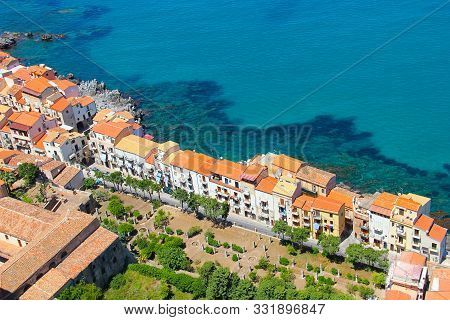 Cefalu Old Town And Mediterranean Sea Coast, Sicily, Italy