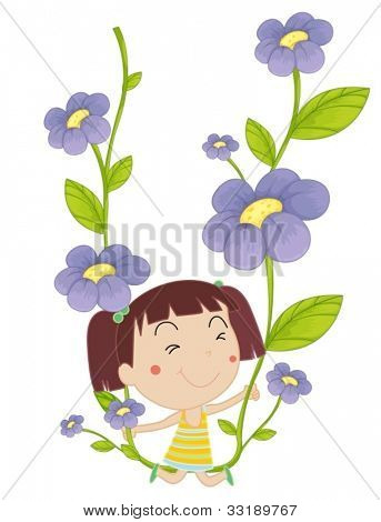 illustration of a girl on flowers