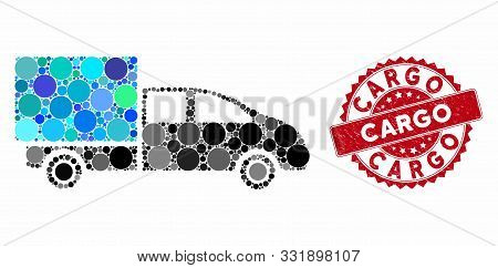 Mosaic Cargo And Distressed Stamp Seal With Cargo Caption. Mosaic Vector Is Composed With Cargo Icon