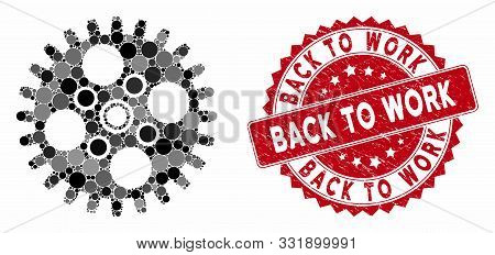 Mosaic Cogwheel And Distressed Stamp Seal With Back To Work Text. Mosaic Vector Is Composed With Cog