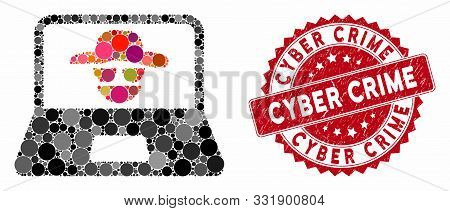 Mosaic Cyber Crime And Rubber Stamp Seal With Cyber Crime Phrase. Mosaic Vector Is Created With Cybe