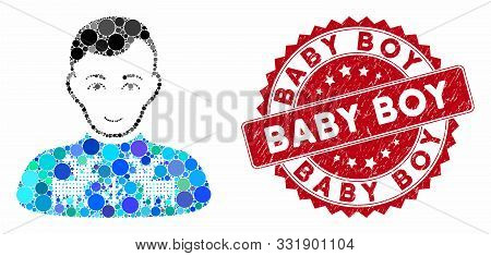 Mosaic Deers Pullover Boy And Corroded Stamp Seal With Baby Boy Phrase. Mosaic Vector Is Designed Fr
