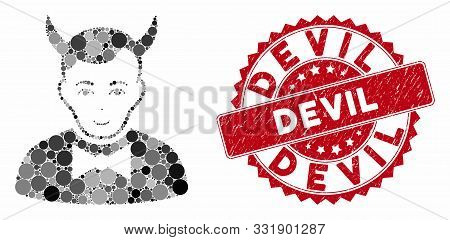 Mosaic Devil And Corroded Stamp Seal With Devil Caption. Mosaic Vector Is Designed With Devil Icon A
