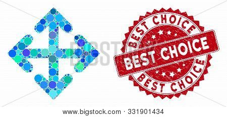 Mosaic Direction Variants And Grunge Stamp Watermark With Best Choice Phrase. Mosaic Vector Is Forme
