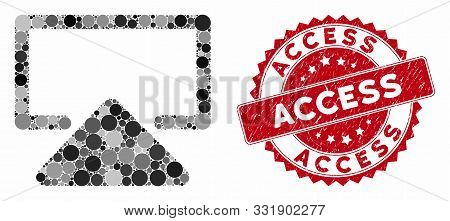 Mosaic Enter And Rubber Stamp Watermark With Access Text. Mosaic Vector Is Formed With Enter Icon An
