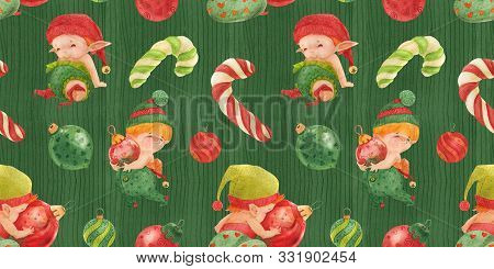 Christmas Elves Story Green Seamless Pattern, Baby Elves With Glass Baubles And Candy Canes