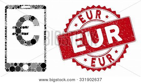 Collage Euro Mobile Balance And Rubber Stamp Seal With Eur Phrase. Mosaic Vector Is Designed With Eu