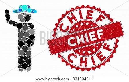 Mosaic Gentleman Hitchhike And Corroded Stamp Seal With Chief Caption. Mosaic Vector Is Created With