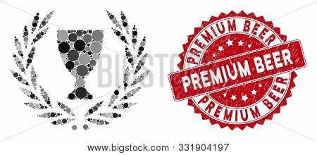 Mosaic Glory Wreath And Grunge Stamp Watermark With Premium Beer Text. Mosaic Vector Is Designed Fro