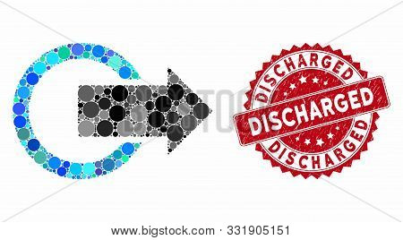 Mosaic Logout And Rubber Stamp Seal With Discharged Text. Mosaic Vector Is Composed With Logout Icon