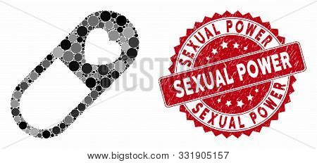 Mosaic Love Granule And Rubber Stamp Watermark With Sexual Power Text. Mosaic Vector Is Created From