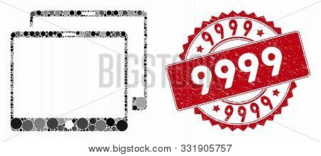 Mosaic Mobile Tabs And Grunge Stamp Watermark With 9999 Text. Mosaic Vector Is Formed With Mobile Ta