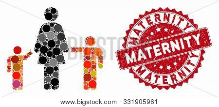 Mosaic Mother And Children And Distressed Stamp Seal With Maternity Caption. Mosaic Vector Is Create