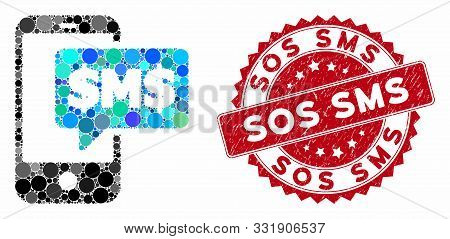 Mosaic Phone Sms And Grunge Stamp Seal With Sos Sms Caption. Mosaic Vector Is Created With Phone Sms