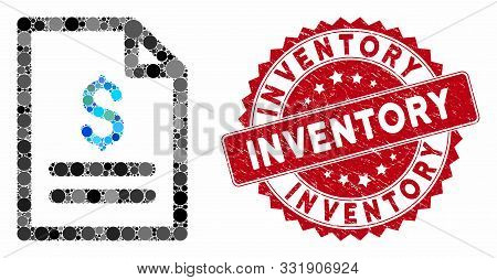 Collage Price List And Rubber Stamp Seal With Inventory Text. Mosaic Vector Is Composed From Price L