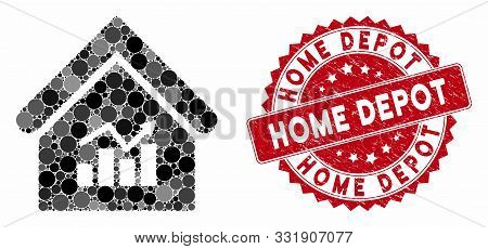 Mosaic Realty Charts And Grunge Stamp Seal With Home Depot Text. Mosaic Vector Is Composed With Real