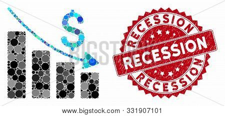 Mosaic Recession And Corroded Stamp Seal With Recession Phrase. Mosaic Vector Is Composed With Reces