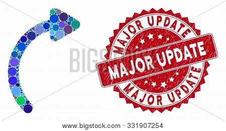 Mosaic Rotate Right And Grunge Stamp Seal With Major Update Text. Mosaic Vector Is Formed With Rotat