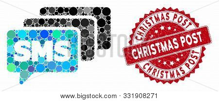 Mosaic Sms Queue And Rubber Stamp Seal With Christmas Post Phrase. Mosaic Vector Is Formed With Sms