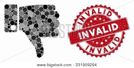Mosaic Thumb Down And Grunge Stamp Seal With Invalid Text. Mosaic Vector Is Designed With Thumb Down
