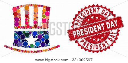 Collage Uncle Sam Hat And Rubber Stamp Seal With President Day Caption. Mosaic Vector Is Designed Wi