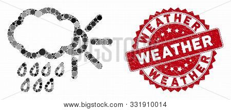 Mosaic Weather And Distressed Stamp Seal With Weather Text. Mosaic Vector Is Designed From Weather I