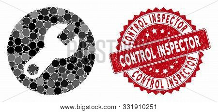 Mosaic Wrench And Grunge Stamp Seal With Control Inspector Caption. Mosaic Vector Is Composed With W