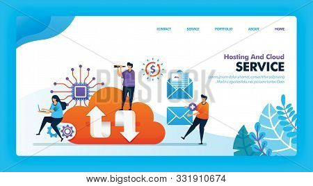 Landing Page Vector Design Of Hosting And Cloud. Easy To Edit And Customize. Modern Flat Design Conc