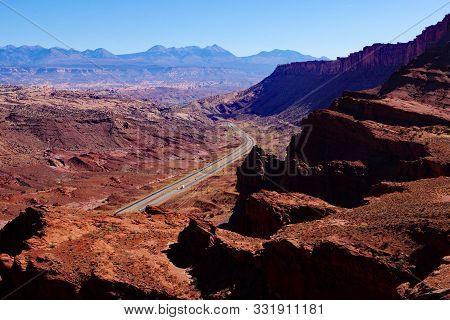 U.s. Highway 191 To Moab, Utah View Looking Down On U.s. Highway 191 Between I-70 And Moab, Utah
