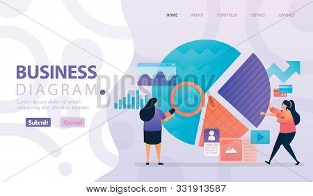 Landing Page Vector Design Of Business Diagram And Chart. Easy To Edit And Customize. Modern Flat De