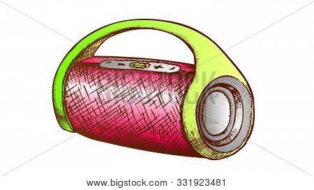 Wireless Speaker Digital Gadget Color Vector. Modern Wireless Audio Dynamic. Portable Music Accessor
