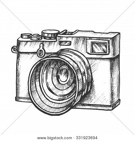 Photo Camera Digital Gadget Monochrome Vector. Ancient Photography Camera. Photograph Technological