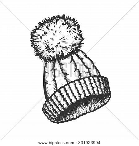 Winter Hat With Woolen Pompon Monochrome Vector. Knitted Hat Warm Wearing Accessory For Cold Weather
