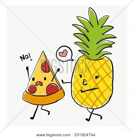 Funny Cartoon Character, Pizza And Pineapple, For T-shirt Graphic/sticker. Food Joke. Pizza Run Away
