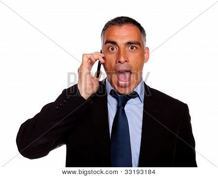 Surprised Business Man On Cellphone