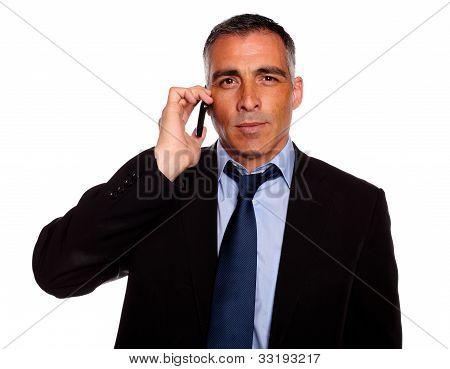 Senior Executive Broker Listening On Mobile